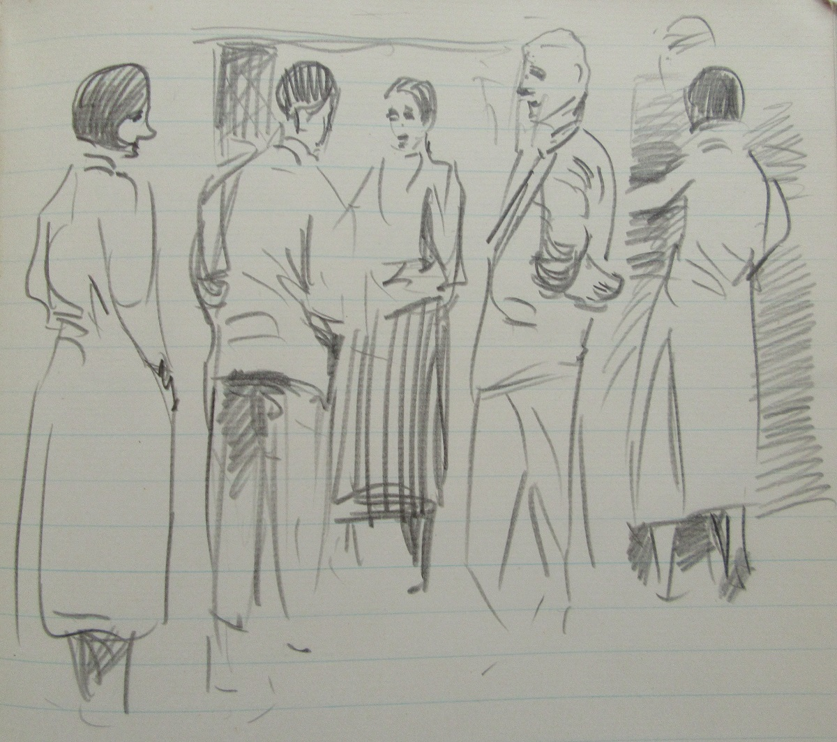 Conversation piece with 5 figures